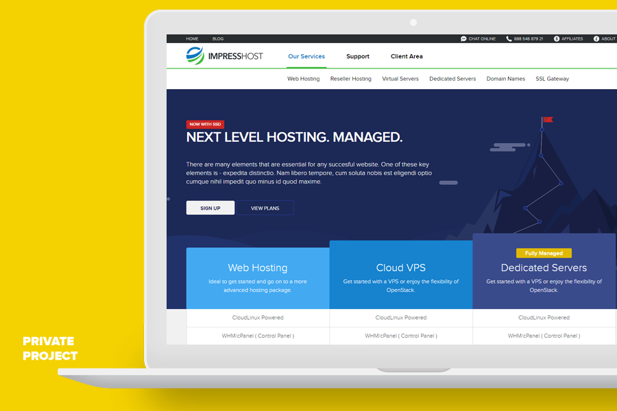 Web site design for hosting company.